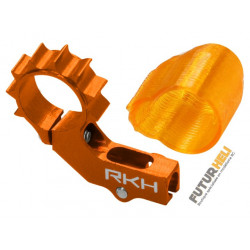 Support moteur AC alu Orange + protection moteur Blade mSR X/S, mCP X/V2/S Rakonheli